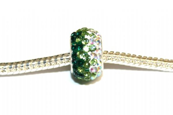 1pce x Dark green - grass green - clear pave crystal bead 12mm x 8mm - Pave Crystal Beads with 5mm hole PS-S-12- 035